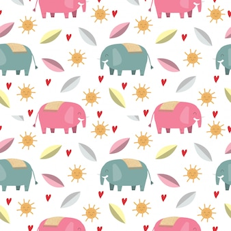 Cute elephant and leaf seamless pattern/background