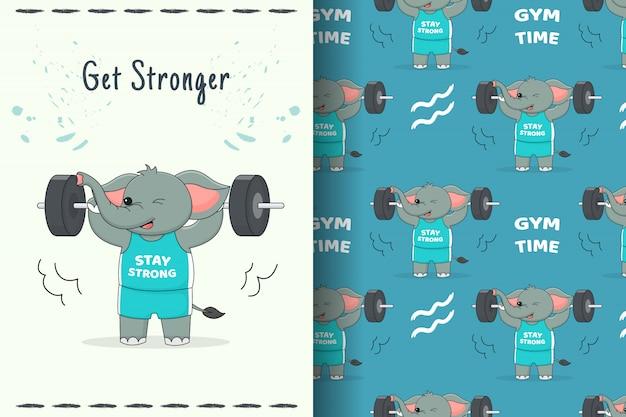 완벽 한 패턴 및 카드를 해제하는 귀여운 코끼리