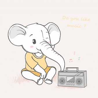 Cute elephant listening music from cassette player