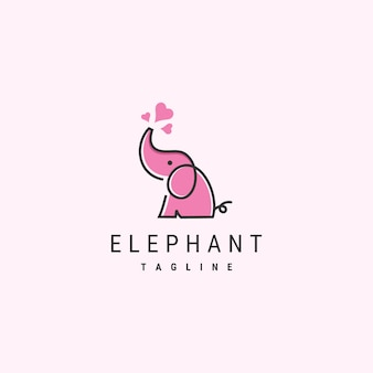Cute elephant logo template