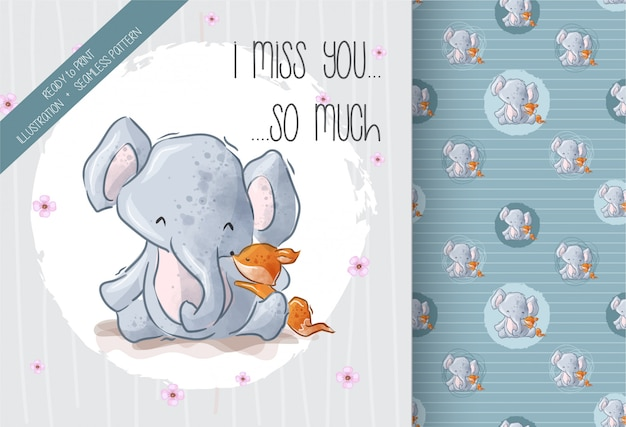 Cute elephant lovely fox  with  seamless pattern