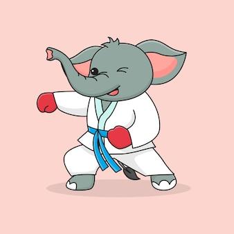 かわいい象武道パンチング