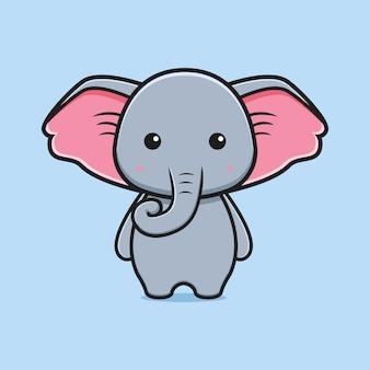 かわいい象のマスコット漫画アイコンイラスト。孤立したフラット漫画スタイルをデザインする
