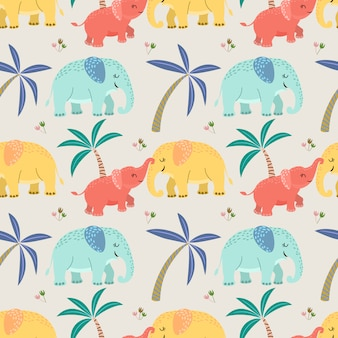 Cute elephant mom and baby seamless pattern.