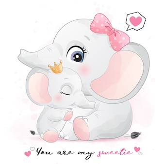 Cute elephant mother and baby illustration