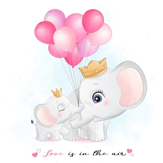 Cute elephant mother and baby with watercolor illustration
