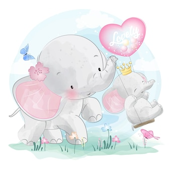 Cute elephant mother and baby