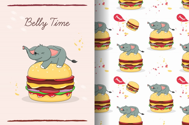 햄버거 원활한 패턴 및 카드에 귀여운 코끼리