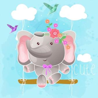 Милый слоник на качелях. вектор