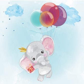 Cute elephant painted in watercolor