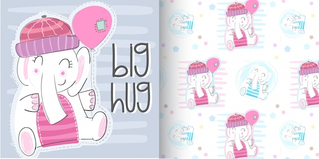 Cute elephant pattern set, hand draw illustration-vector