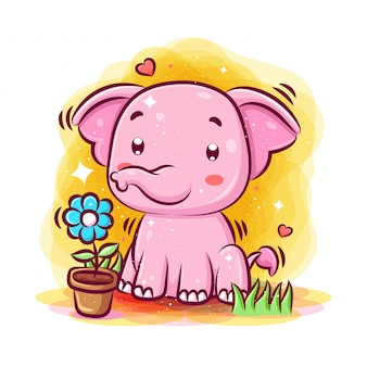 Cute elephant play around the garden