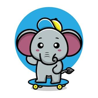 かわいい象はスケートボードの漫画イラストを再生します