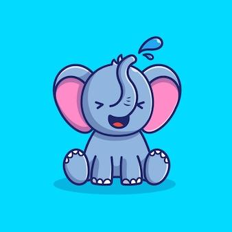 Симпатичные слон играть в воде значок иллюстрации. слон талисман мультипликационный персонаж. животное иконка концепция изолированные