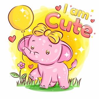 Ballon과 느낌 사랑으로 귀여운 코끼리 놀이. 화려한 만화 일러스트 레이션