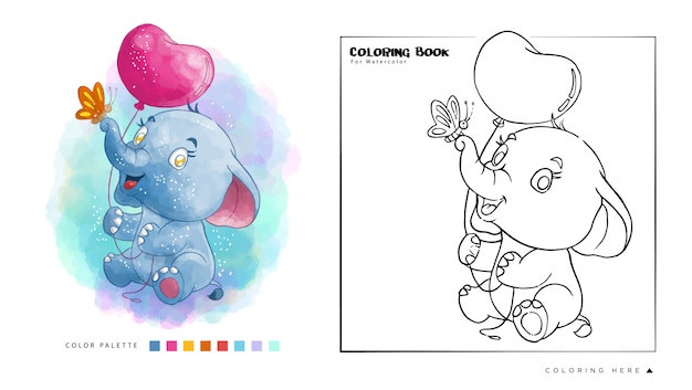 Cute elephant play with balloon and butterfly watercolor coloring book