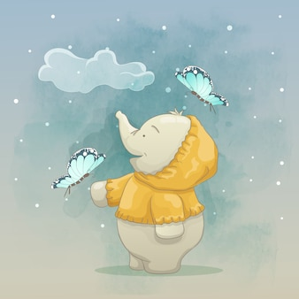 A cute elephant playing with butterfly at night