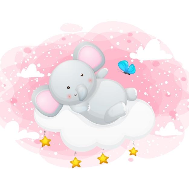 Милый слоник с бабочкой в небе