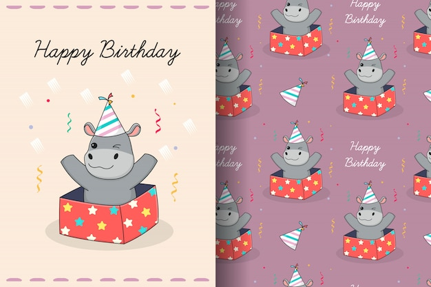 Cute elephant punch seamless pattern and card