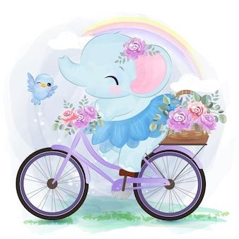 자전거를 타는 귀여운 코끼리