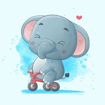 Cute elephant riding a bicycle. watercolor illustration.