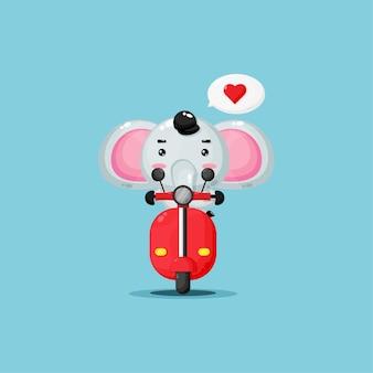 Cute elephant riding classic motorbike