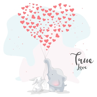Cute elephant romantic couple with love balloon