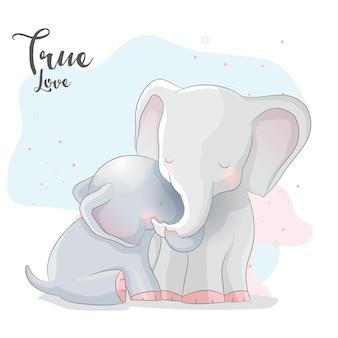 Cute elephant romantic couple
