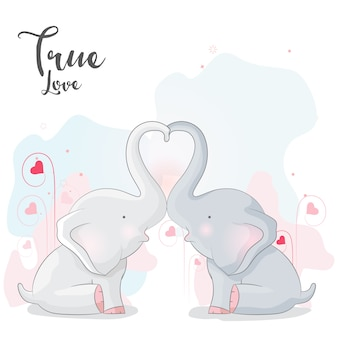 Cute elephant romantic couple
