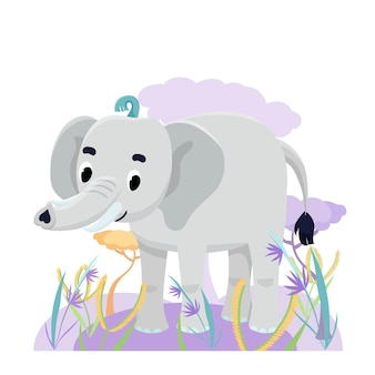Cute elephant in savanna with flower and grass on white background. vector illustration
