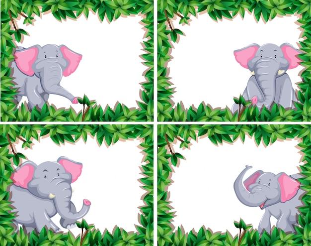 Cute elephant set of four