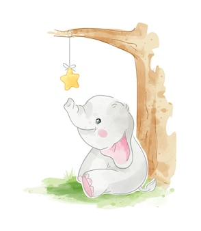 Cute elephant siting with little star hanging on the tree illustration