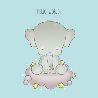 귀여운 코끼리 앉아 만화 벡터 아이콘 그림