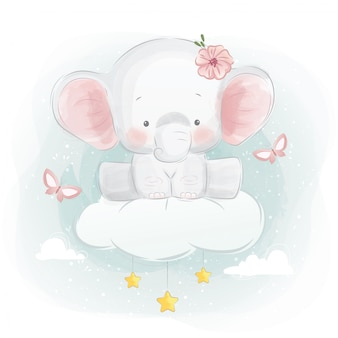 Cute elephant sitting on a cloud