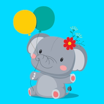 Cute elephant sitting and holding a balloon.