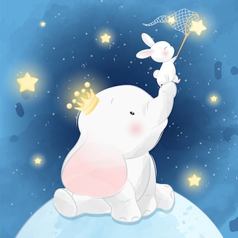 Cute elephant sitting in the moon with little bunny