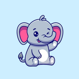 Cute elephant sitting and waving hand cartoon vector icon illustration.