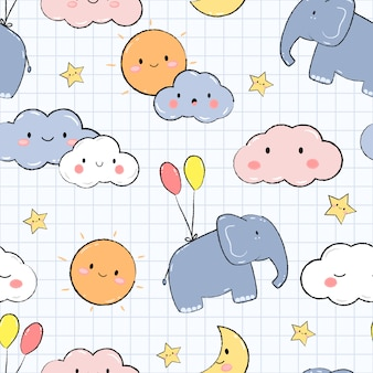 Cute elephant in sky cartoon doodle seamless pattern