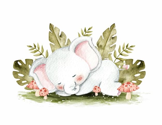 ジャングルで眠っているかわいい象水彩イラスト