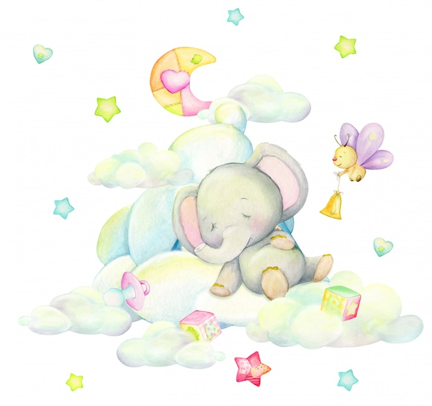 漫画のスタイルで、月、蝶、星を背景に、雲の中で眠っているかわいい象。水彩イラスト