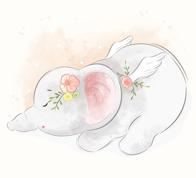 Cute elephant sleeping well