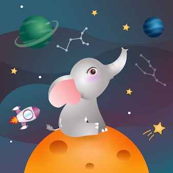 A cute elephant in the space galaxy