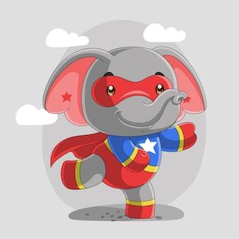 Cute elephant super hero cartoon, hand drawn