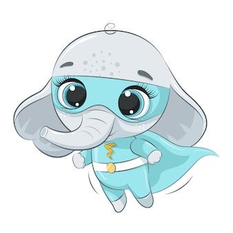 Cute elephant super hero.