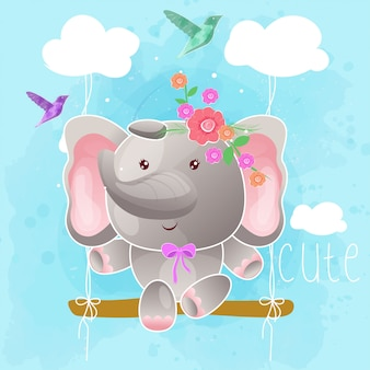 Cute elephant on the swing. vector