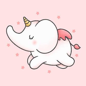 Cute elephant unicorn cartoon hand drawn style