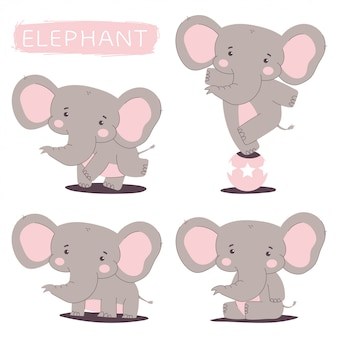 Cute elephant vector cartoon characters set isolated.