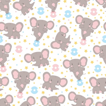 Cute elephant vector seamless pattern