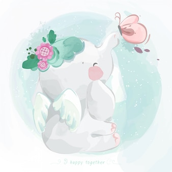 Cute elephant in watercolor style.