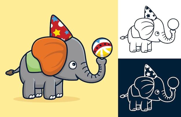 サーカス ショーでボール遊びをしながら、コーンの帽子をかぶったかわいい象。フラット スタイルの漫画イラスト